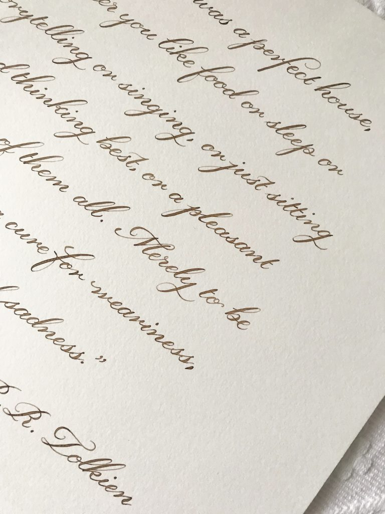 Classic Calligraphy Style - Walnut Ink - Bespoke Calligraphy Poem or Letter - Fine Art Design Studio